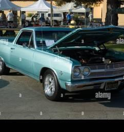 los angeles california car show antique customized 65 1965 chevy chevrolet el camino pickup truck [ 1300 x 953 Pixel ]