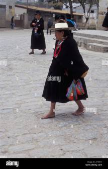 Indigenous Woman Walking Barefoot Sunday Mass In
