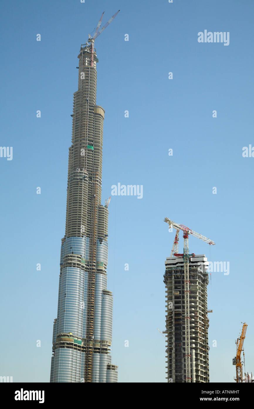 Burj Dubai The World S Tallest Building Under Construction Stock Photo Alamy