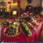 Christmas Food Decorations On Dinner Table Stock Photo Alamy
