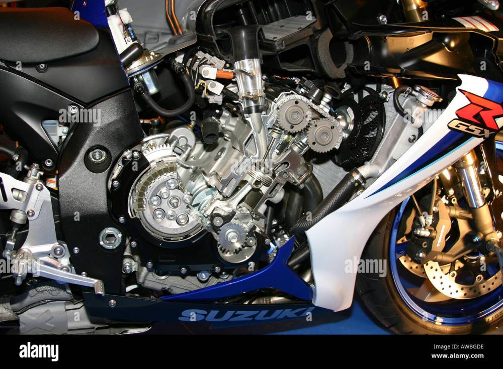 medium resolution of cut away view of inside of modern four stroke motorcycle engine stock image