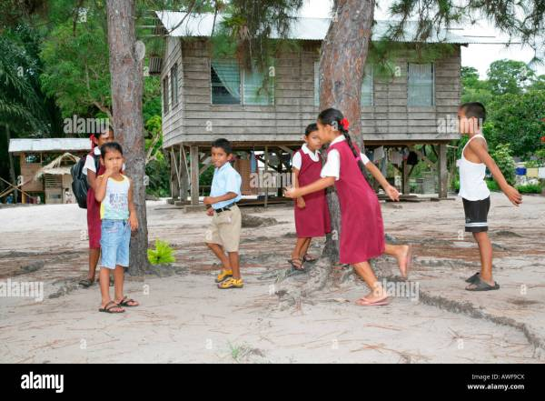 Pupils In Uniform During Break Amerindians Tribe Of The