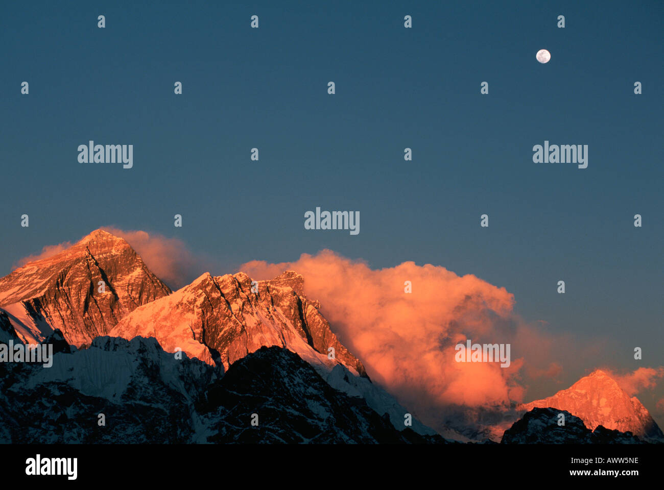 https www alamy com moon over mount everest lhotse and makalu at sunset seen from gokyo image9518365 html