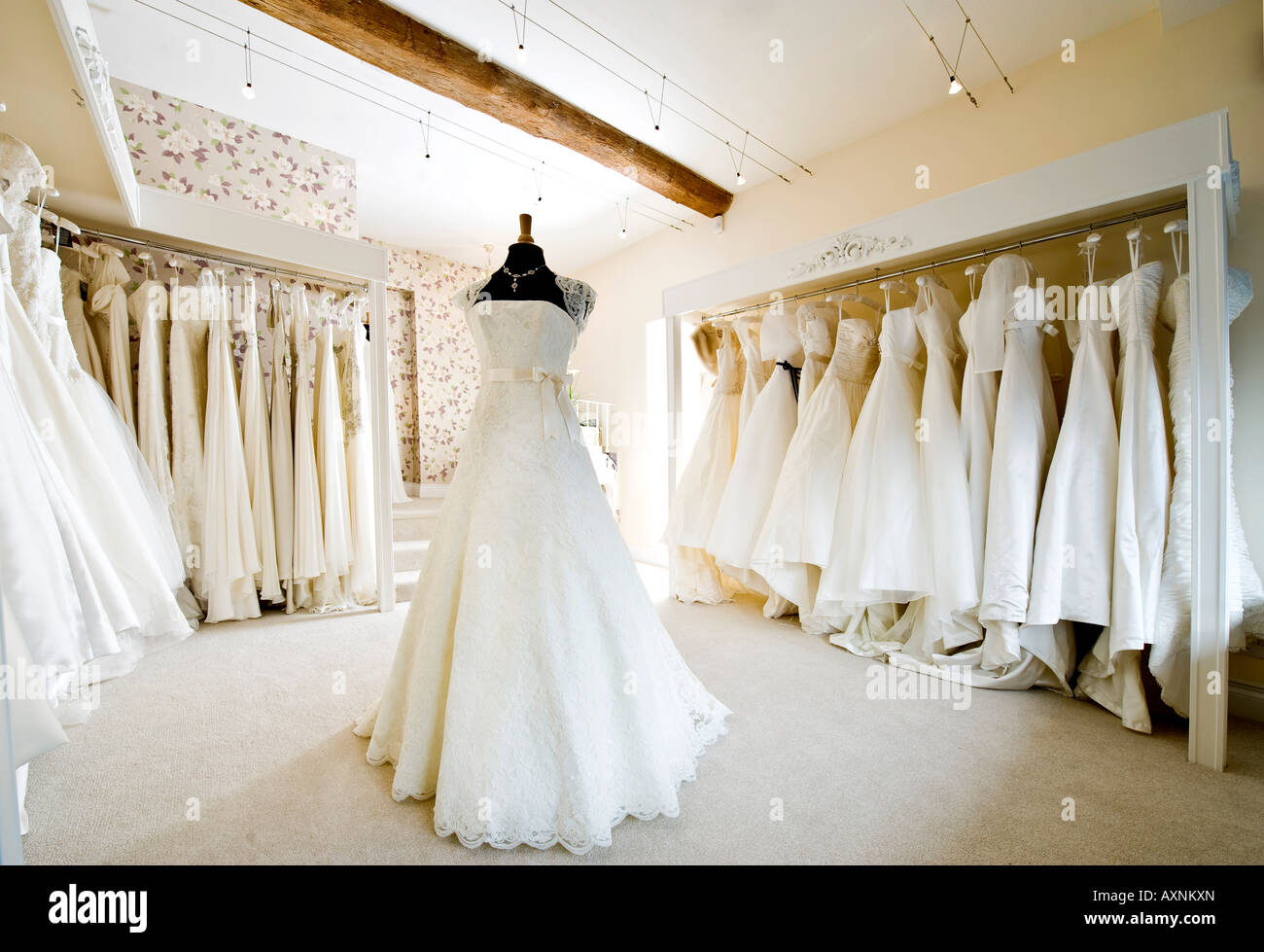 Interior Of Wedding Dress Gown In Bridal Boutique Shop