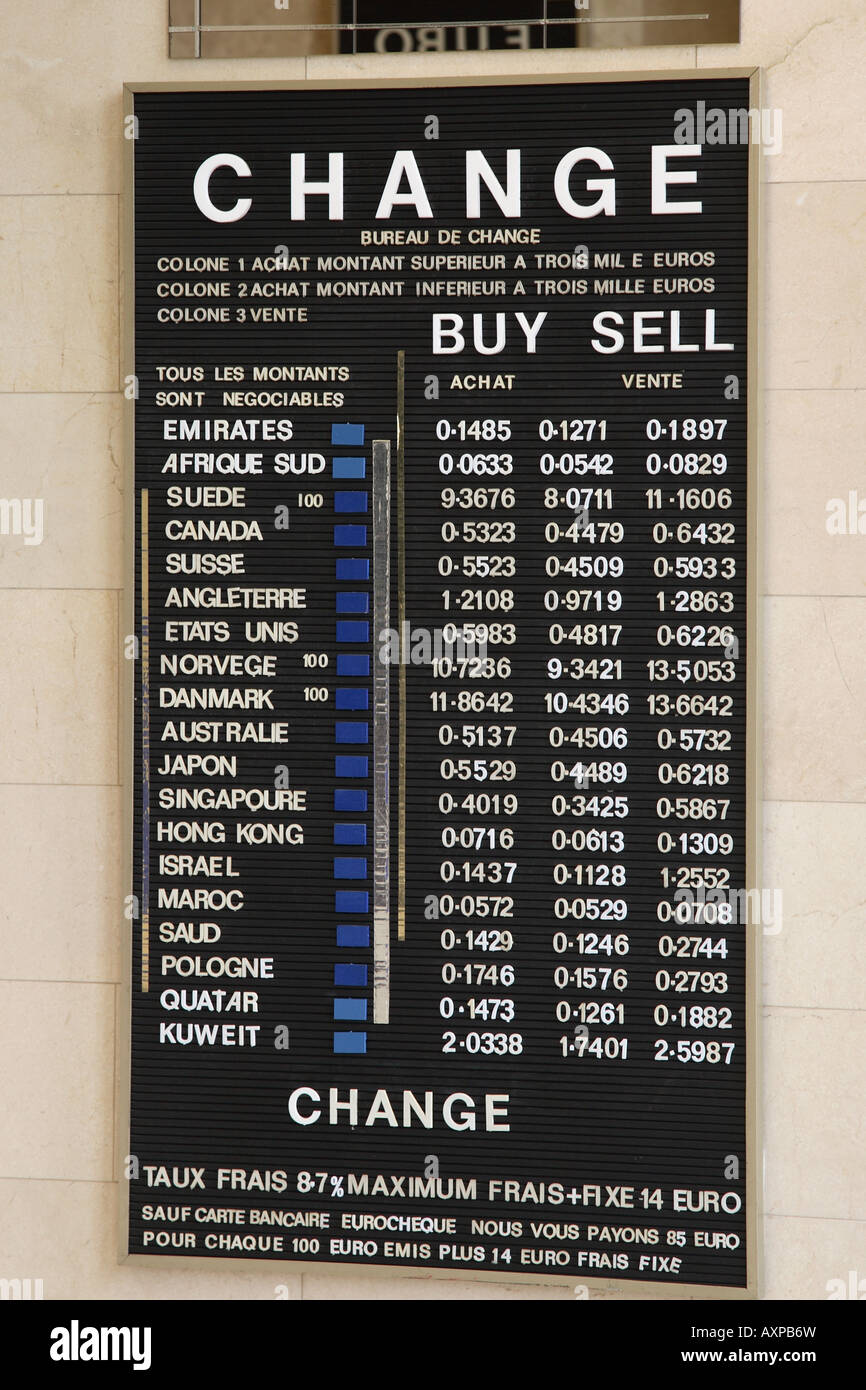 currency change board paris france