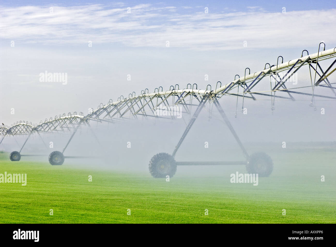 automated circular rotating center pivot irrigation system