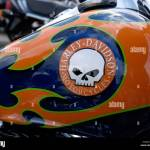 Harley Davidson Motorcycle Fuel Tank With Custom Paint Job And Logo Stock Photo Alamy