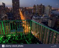 Balcony looking out over first Avenue and up town New York ...