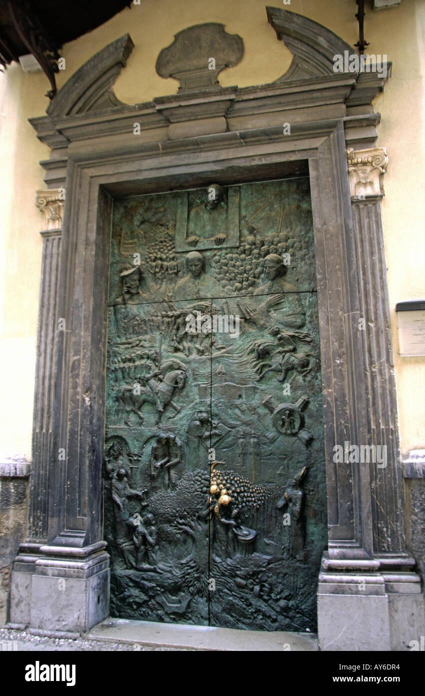 Bronze front door of St Nicholas Cathedral in Ljubljana