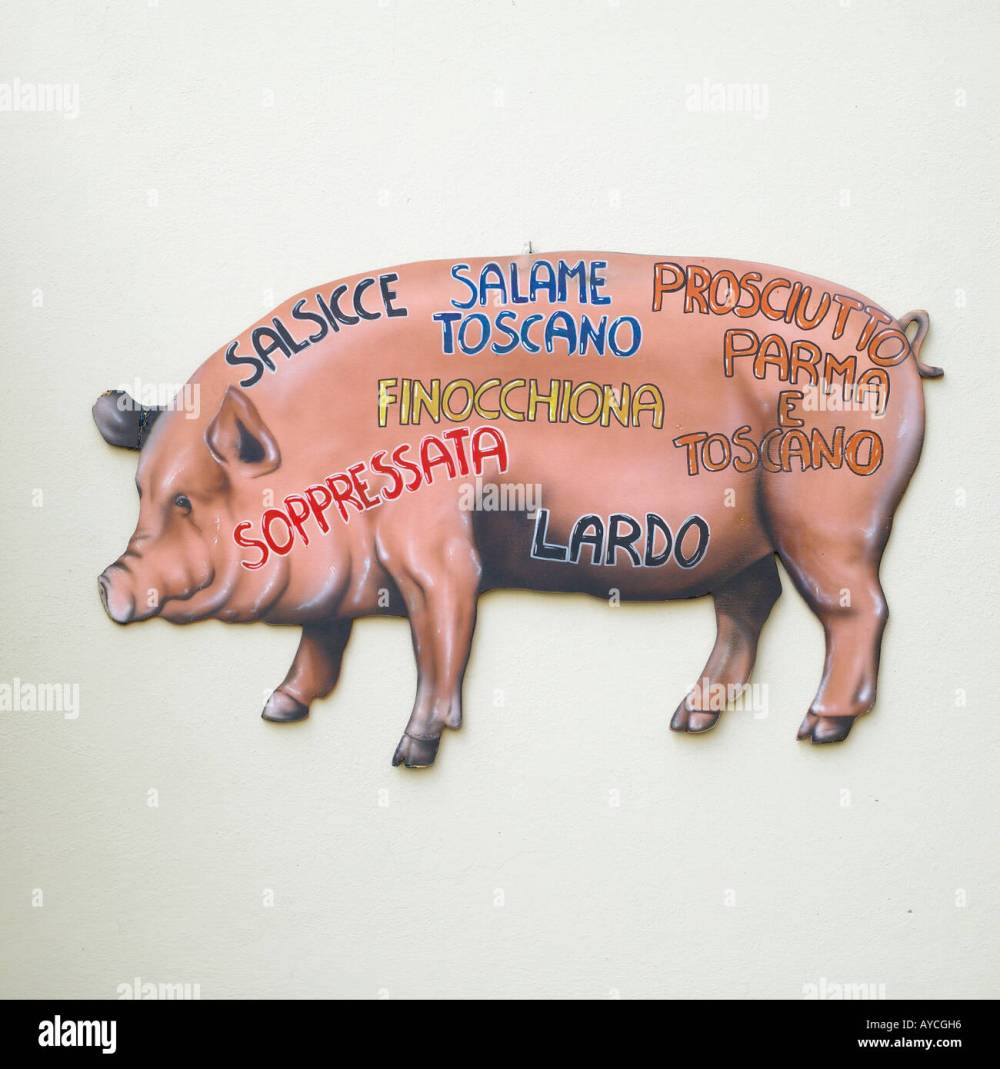 medium resolution of painting showing cuts of meat on a pig stock image