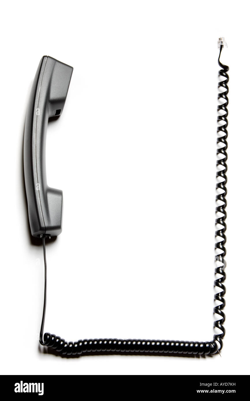 hight resolution of frame or border made of a telephone receiver and its curly cable stock image