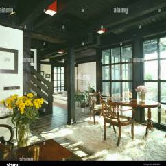 Country Rug For Living Room Decor With Grey Couches Antique Table And Chairs On Sheepskin In Painted Black Roof