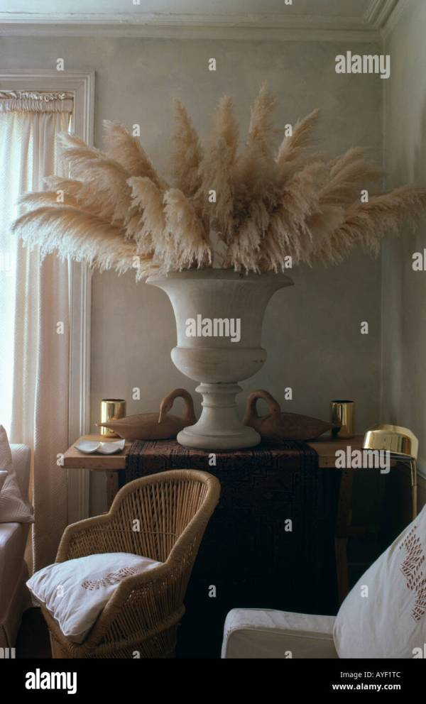 Dried Pampas Grass In Ornamental Urn Eighties