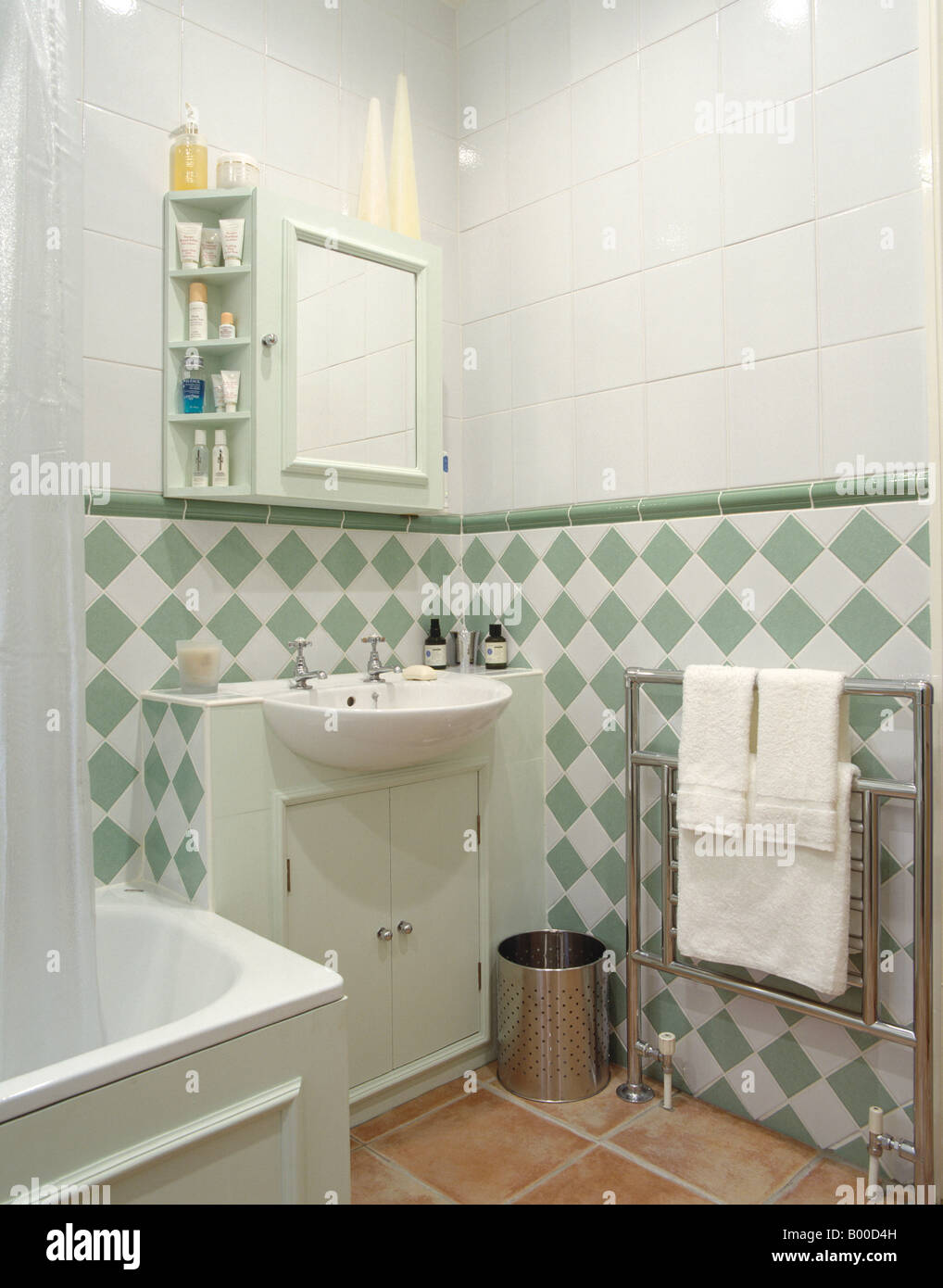 https www alamy com stock photo green and white tiles below dado in modern white bathroom with built 17220689 html