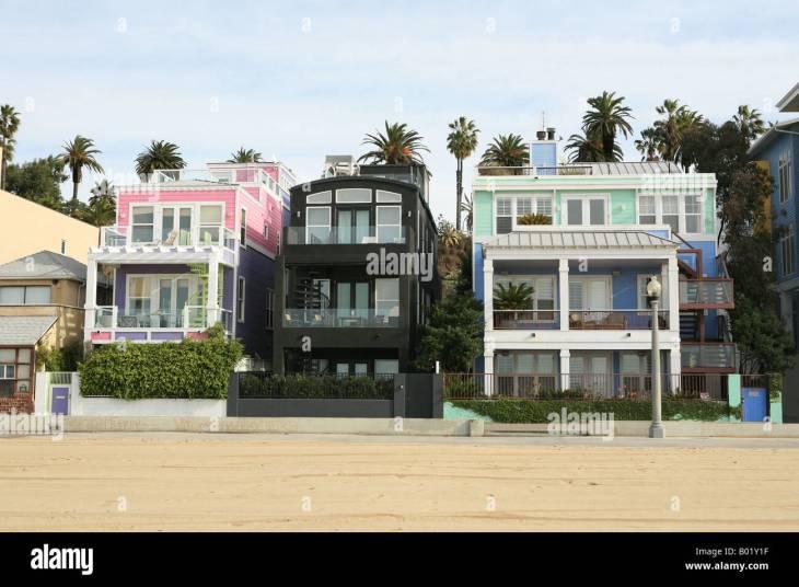 Beach houses along the sea front Santa Monica Los Angeles California USA