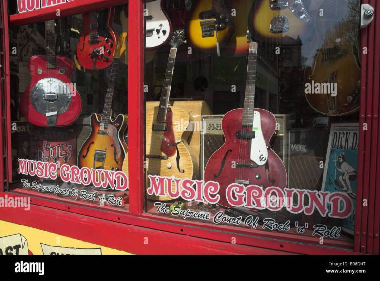 musical instruments shop, tin pan alley (denmark street) london, w1