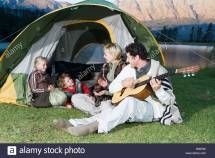Father Son Camping Lake Stock &