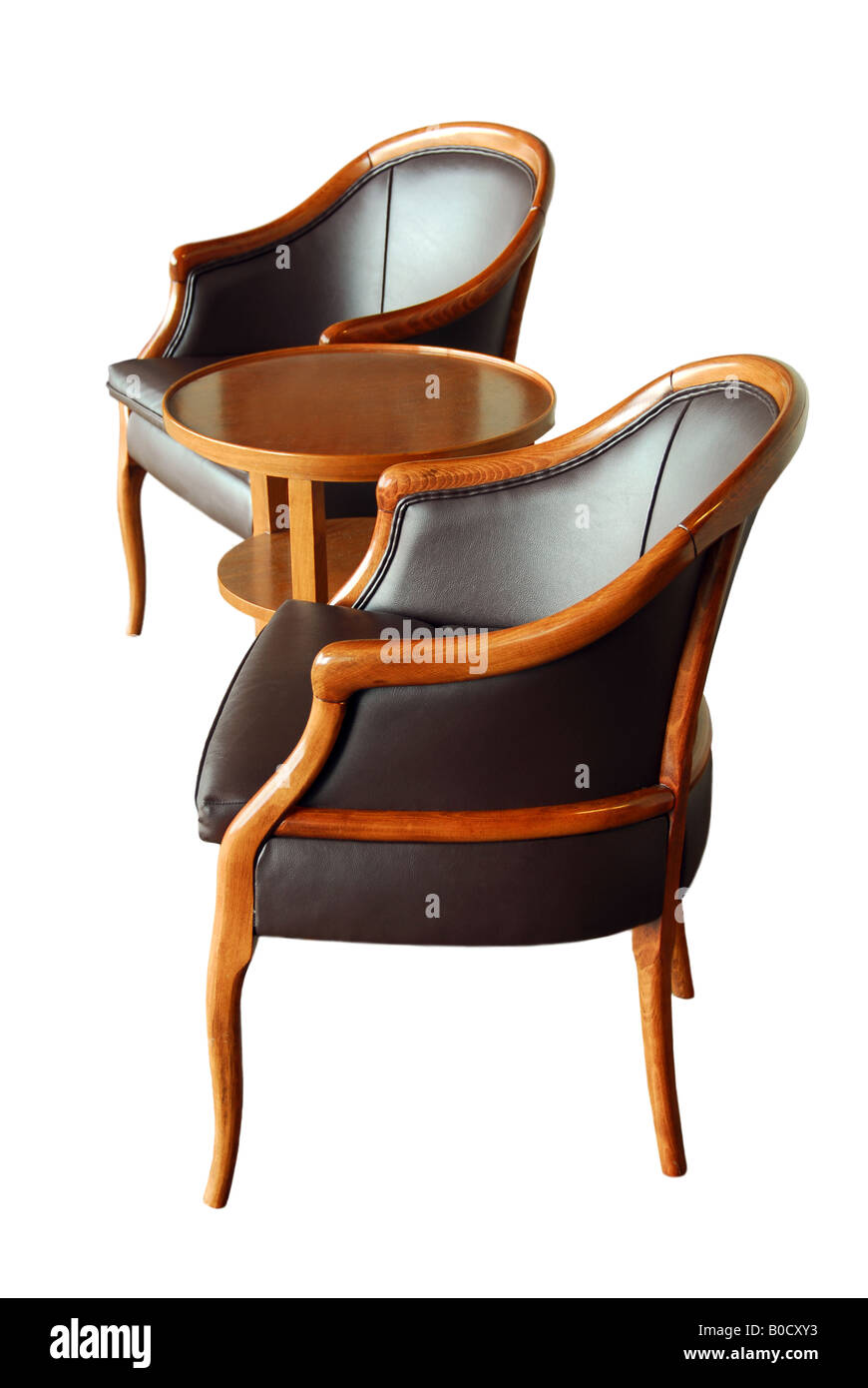 Table With Two Chairs Furniture Two Chairs And A Coffee Table Isolated On White