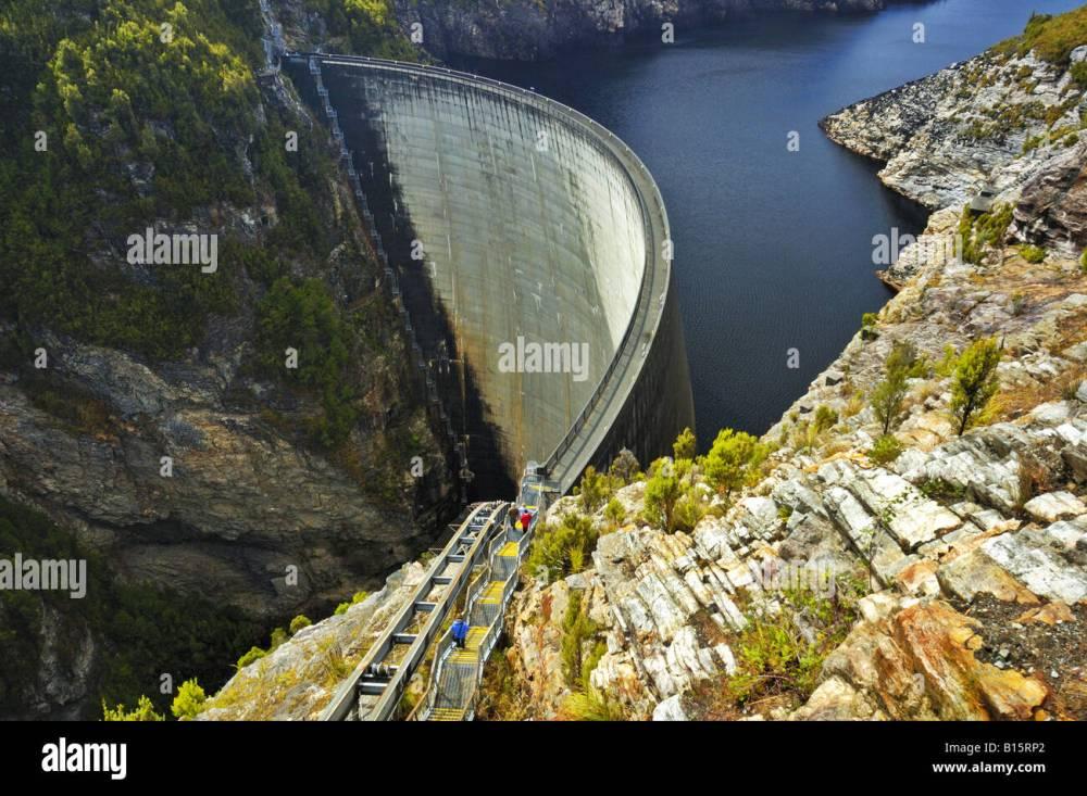 medium resolution of tourists on the gordon dam tasmania australia stock image