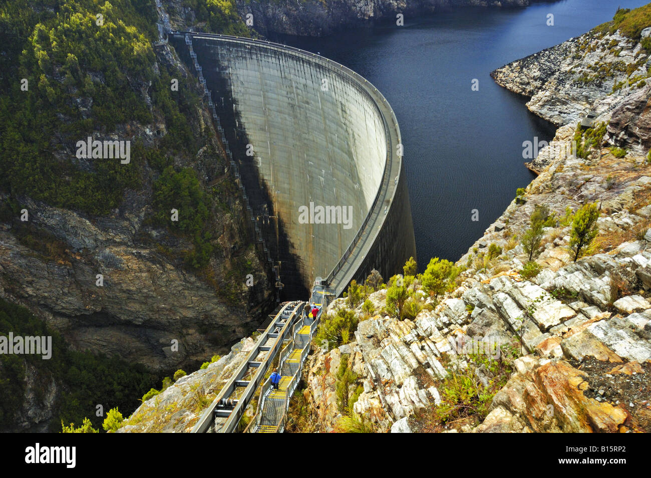 hight resolution of tourists on the gordon dam tasmania australia stock image