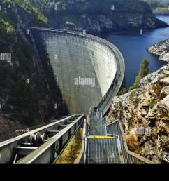 tourists on the gordon dam tasmania stock image [ 1300 x 954 Pixel ]