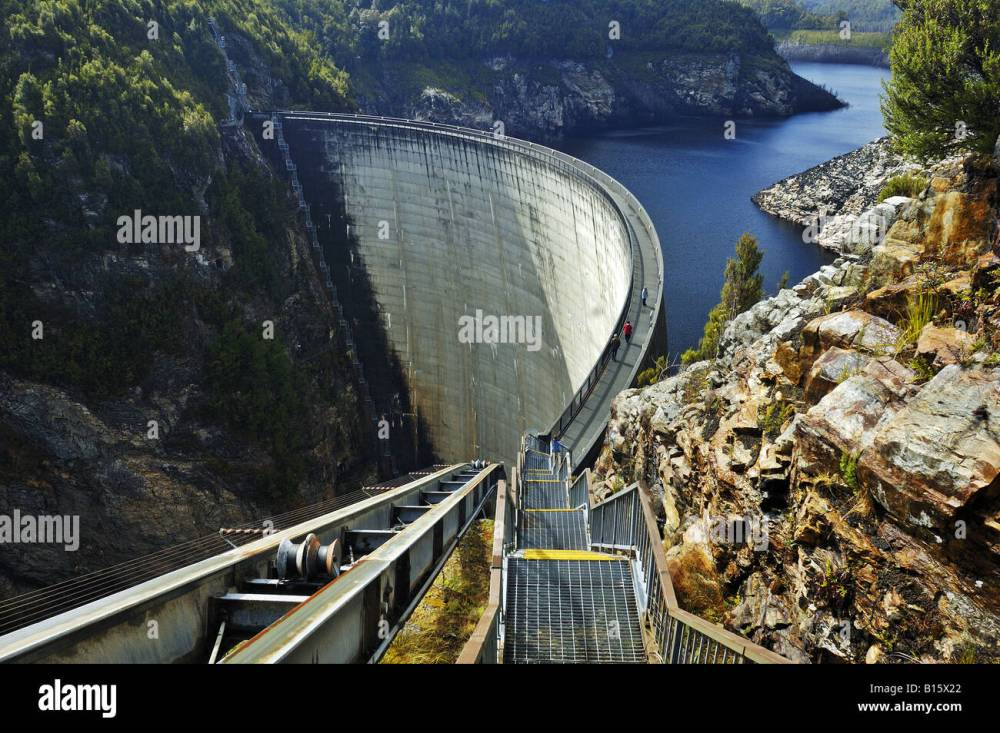 medium resolution of tourists on the gordon dam tasmania stock image