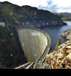 people on the gordon dam tasmania australia stock image [ 1300 x 954 Pixel ]