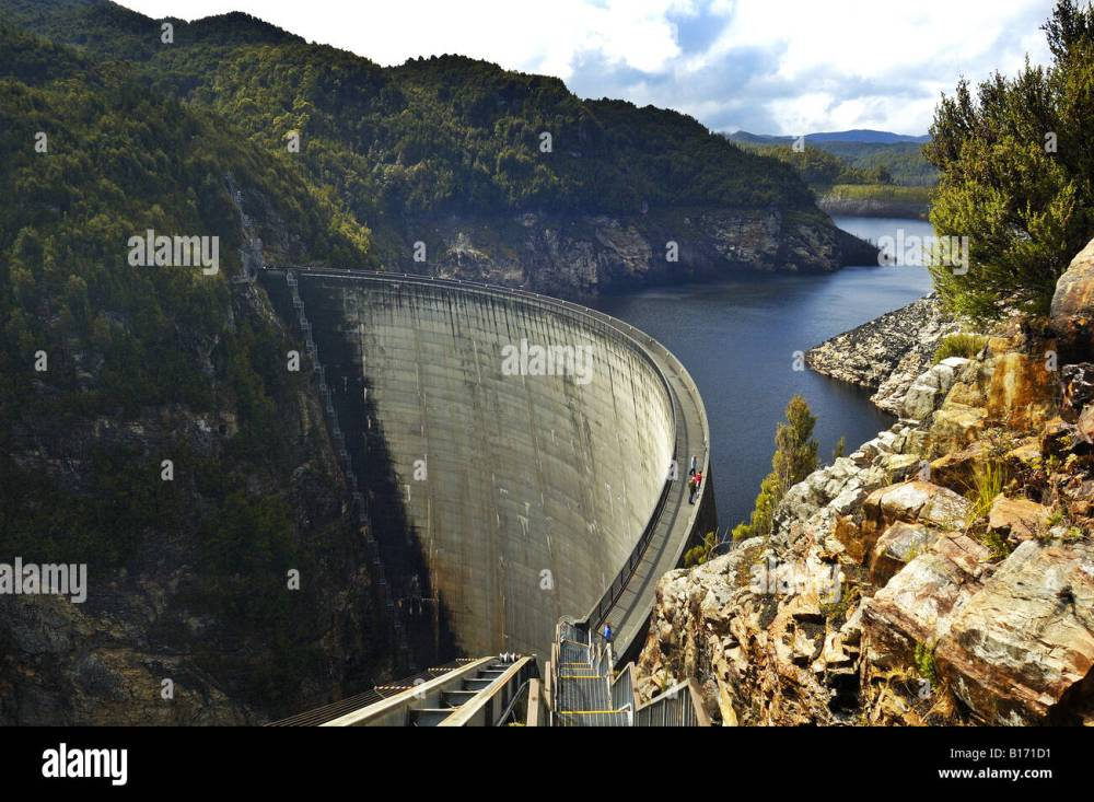 medium resolution of people on the gordon dam tasmania australia stock image