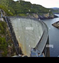 the gordon dam tasmania australia stock image [ 1300 x 927 Pixel ]