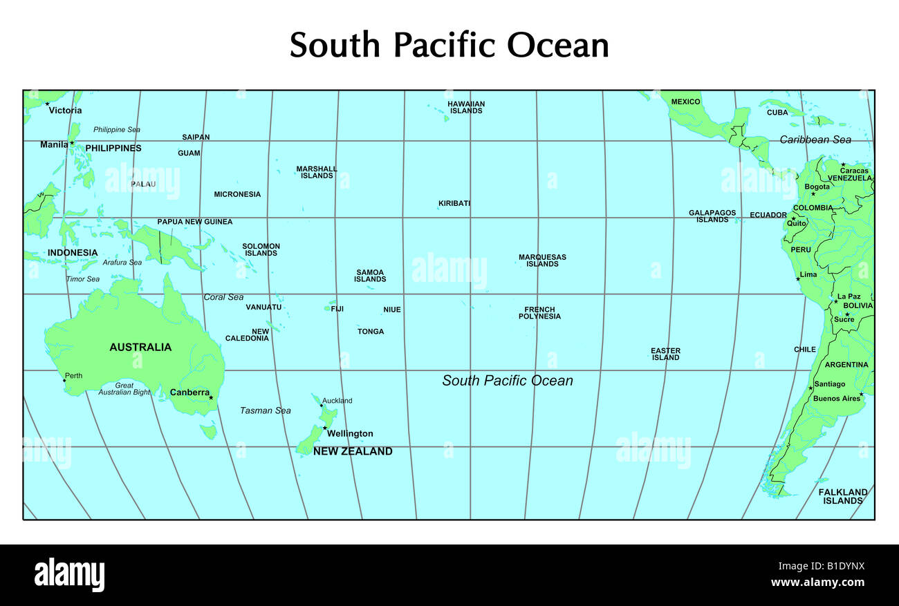 South Pacific Ocean Map Stock Photo Alamy