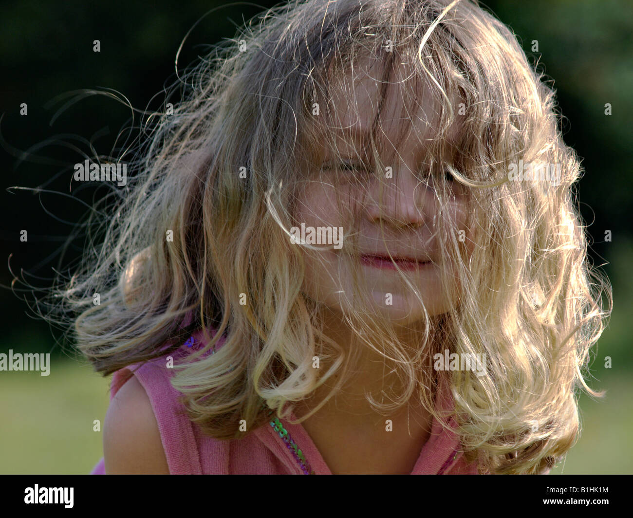 Young Female Child Bad Hair Day Stock Photo