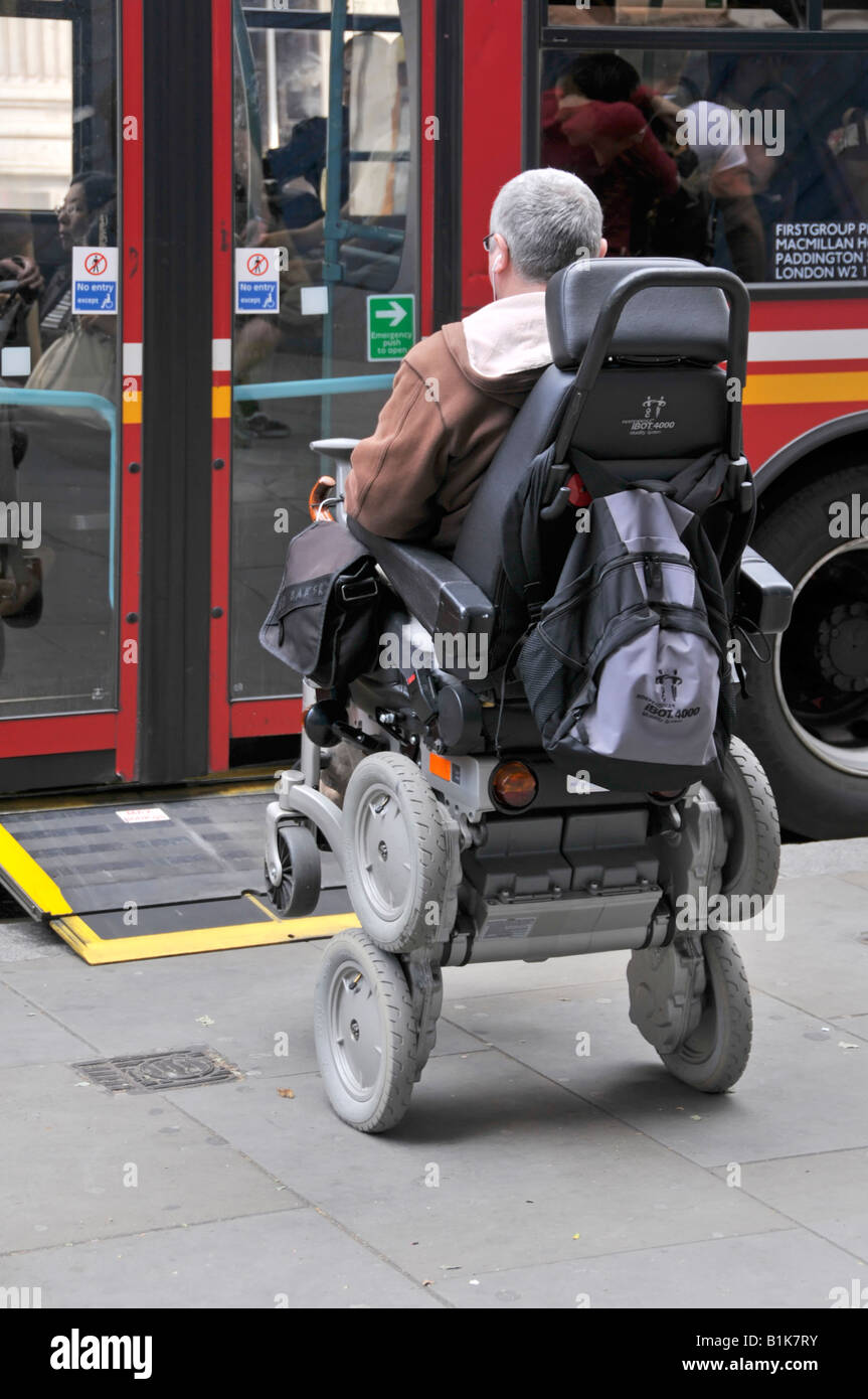 Disabled person operating a gyroscope balanced iBOT
