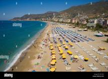 Aerial View Of Beach In Alanya Antalya Turkey Stock