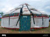 A traditional portable Yurt round tent covered with skins