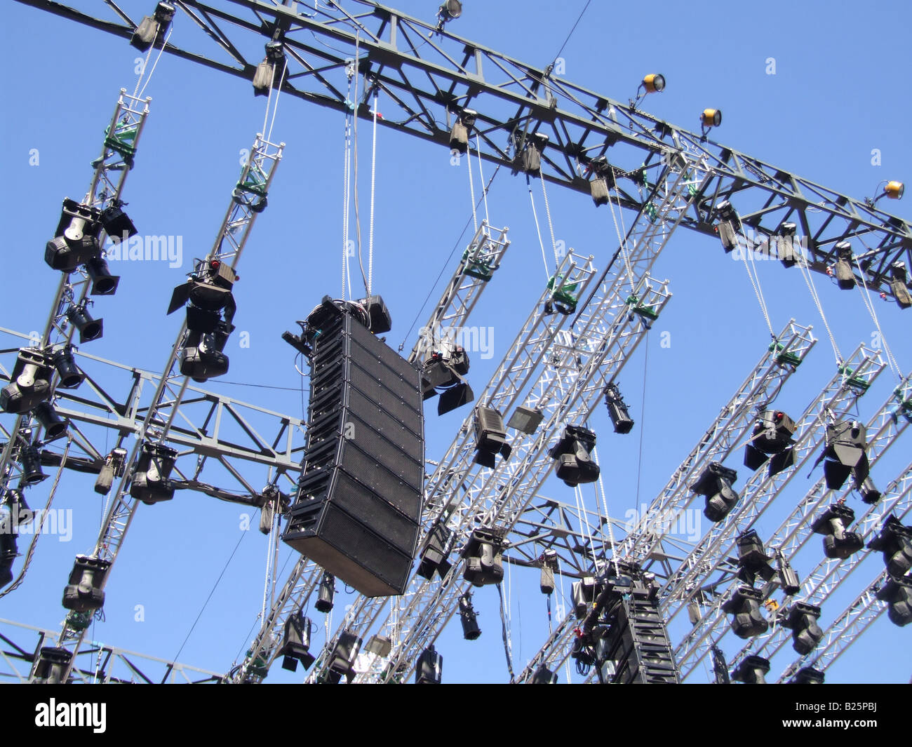 https www alamy com stock photo loud speakers and lighting set up on concert stage 18567014 html