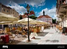 Estonia Tartu Town Hall Square Outdoors Restaurant Stock
