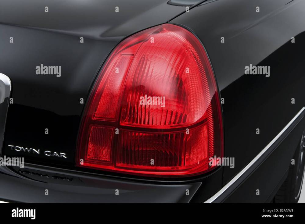 medium resolution of 2008 lincoln town car signature limited in black tail light stock image