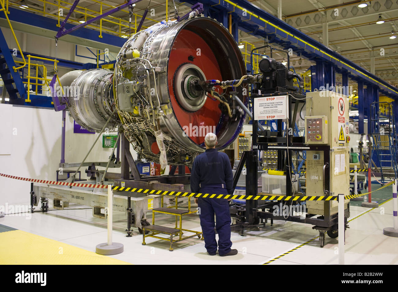 Enginer works on a Rolls Royce jet engine in the production factory Stock Photo 18683445  Alamy