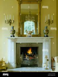 Georgian over-mantel mirror above marble fireplace with ...