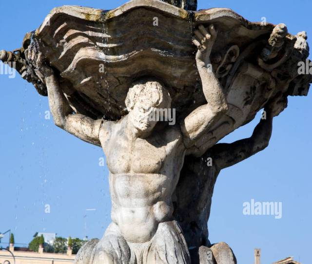 Fountain Of Muscle Bound Men Bearing Fountain Rome Lazio Italy