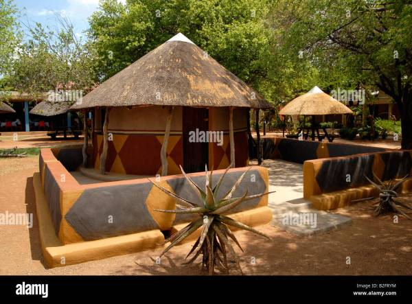 Traditional Village Mud Houses Recreated In Gaborone Museum Stock 18787768 - Alamy