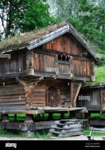 Norway Oslo Folk Museum Traditional Architecture Stock