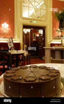 Original Sacher Torte Cake. Elisabeth Salon Hotel