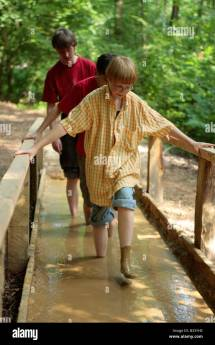 Kids Walking Barefoot Path Egestorf In Northern