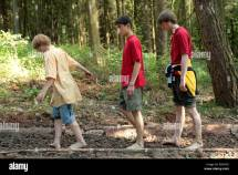 Kids Walking Barefoot Path Egestorf In Northern