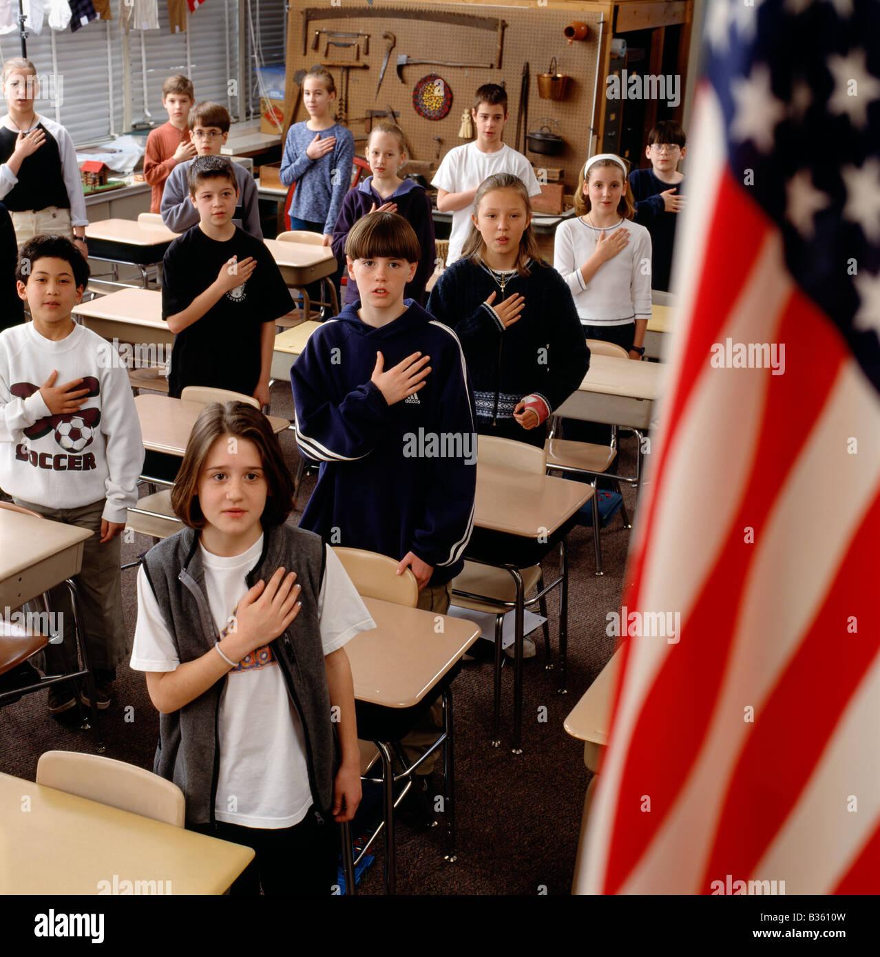 Elementary School Children Recite The Pledge Of Allegiance