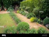 Gravel brick path border evergreen leylandii hedge lawn