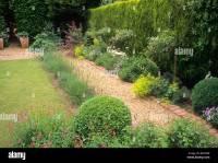 Gravel brick path border evergreen leylandii hedge lawn ...