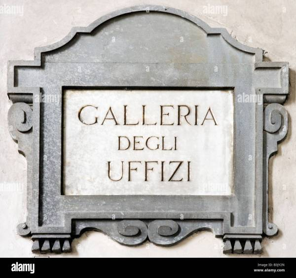Sign Wall Entrance Uffizi Florence Stock Royalty Free
