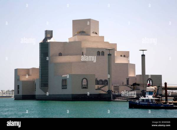 Doha Skyline Museum Islamic Art Stock &